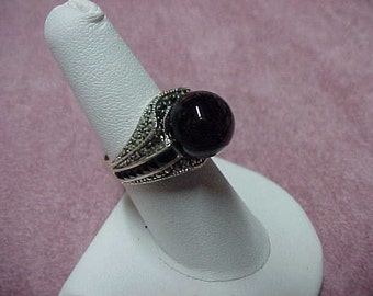 Black Onyx & Marcasite Ring, Sterling Silver, 12MM Center Gem, Row of Faceted Onyx Gems, Either Side