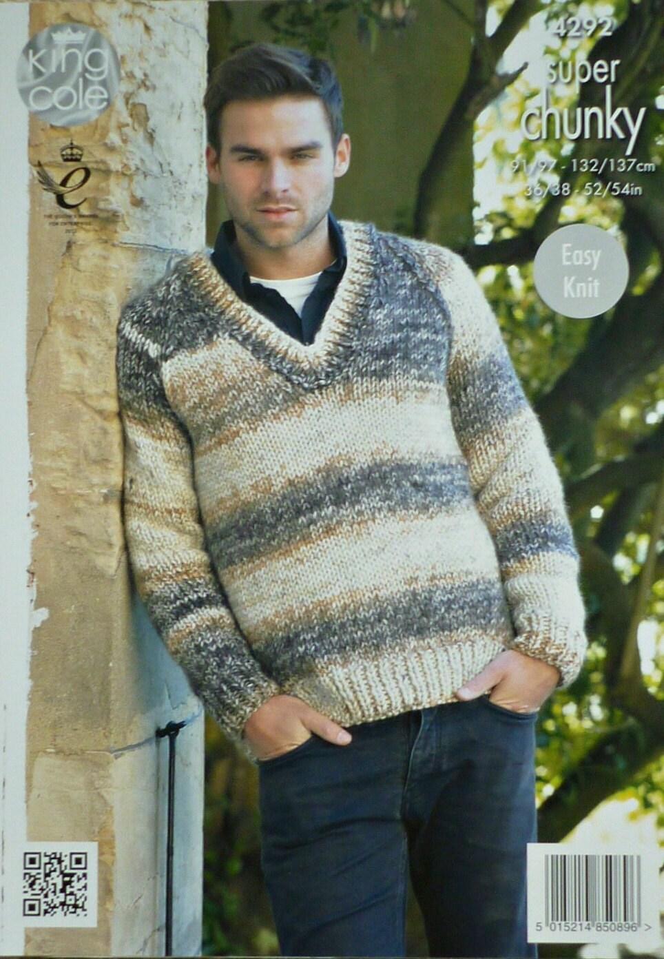 Mens knitting pattern k4292 mens long sleeve v neck jumper sold by knittingpatterns4u bankloansurffo Image collections