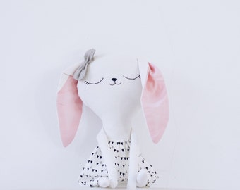 Benita // handmade bunny doll // black and white dress // gifts for kids // softie - plushie // kids room decoration