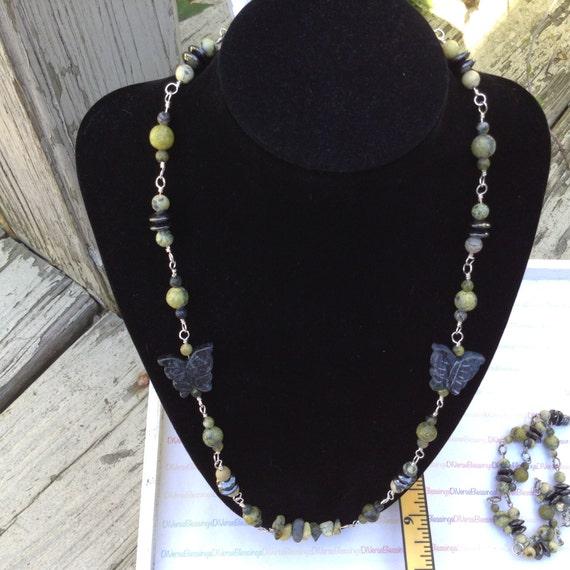 Wild Sunflower, Yellow Turquoise, Butter Jade, Hematite, Serpentine, Genuine Gemstone, Necklace, Beaded Chain