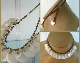 "Mother of Pearl 3/4"" Disk Charm on Unique Chain Fringe Necklace Vintage 15"""