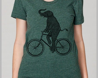Women's T Shirt Elephant Riding a Bicycle Tee American Apparel s, m, l, xl 8 Colors Gift Animal on a Bike