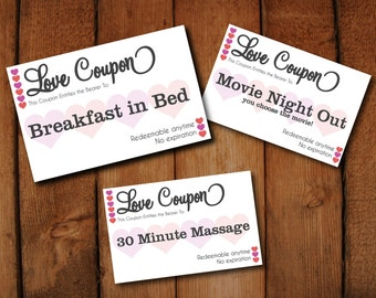 Editable Love Coupons  DIY Instant Download Digital Template To Print Your  Own Tickets  Microsoft  Microsoft Word Coupon