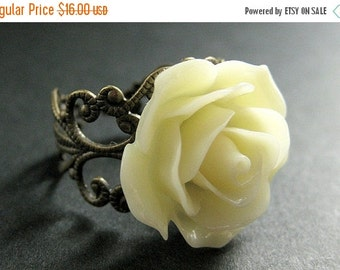 BACK to SCHOOL SALE Ivory Rose Ring. Ivory Flower Ring. Adjustable Ring. Filigree Ring. Flower Jewelry. Handmade Jewelry.