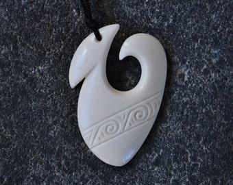 Maori Fish Hook. Hand carved in bone & engraved