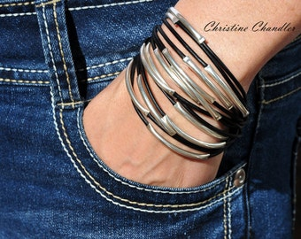 Leather Jewelry - Leather and Sterling Silver Bracelet - 14 Strand - Leather and Silver Bracelet - Leather Bracelet - Leather and Silver