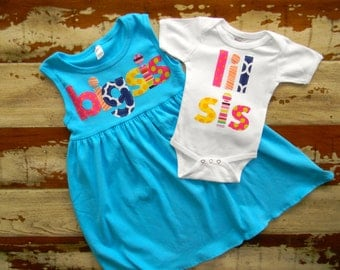 Big Sis Dress with matching lil bro or lil sis Onesie...Sweet Sister Long or Sleeveless Dress- 6-12m to 8 yrs
