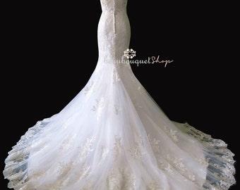 Wedding Dress, Bridal Dress, Boat Neck Cap Sleeve Wedding Dress, Long Dress, Chapel Train Wedding Dress CHRISTINE Dress