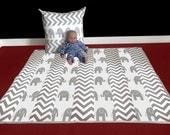 "Baby Playmat - White Elephant Grey Chevron, 47"" x 45"", Ready to Ship"