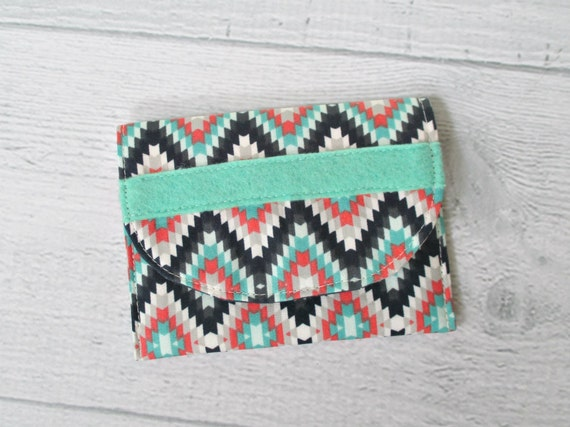 Memory Card Wallet. Turquoise Card Case. Navy, Mint and Coral Turkish Print Fabric Mini Wallet. Coin Purse.