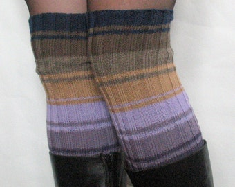 Boot Cuff Boot Toppers Leg Purple Blue Green Beige Moss Boot Socks Cable Striped
