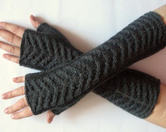 "Dark Gray Fingerless Gloves Knit Gloves Winter Gloves 13"" Long Fingerless Gloves Acrylic Wool"