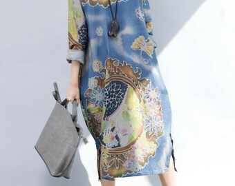 Women large size cotton and linen long sleeved V collar dress