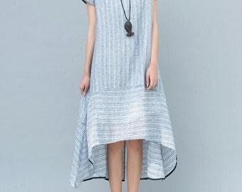Light blue/ light pink asymmetrical Women summer dress