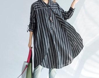 women Loose fitting Long cotton shirt Blue shirt black shirt