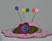 Hat Pin Cushion - Bright Pink Wool Felt Handmade Hat Pin Cushion