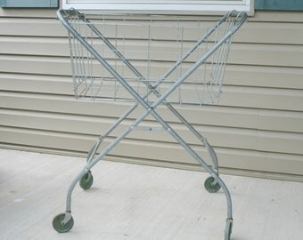 Vintage Laundry Cart on Wheels with Folding Wire Basket