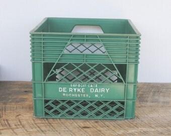 Vintage Green Plastic Dairy Deposit Crate Case De Ryke Dairy Rochester New York