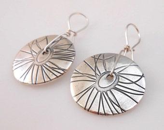 Fine Silver Flower Discs with Sterling Kidney Wire Earrings