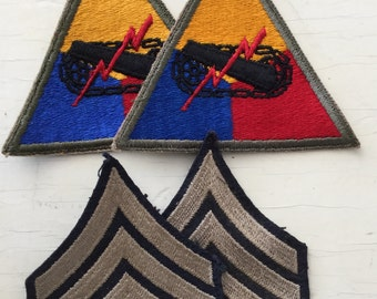 WW2 US Army Sgt Rank patches and Armored For sale WW2 vintage