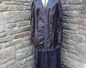 vintage women's original jacket shirt steampunk black edwardian textiles 1900's blazer silk Halloween