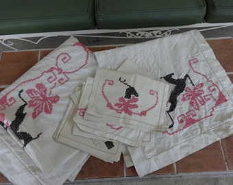 vintage lot of 11, linens tablecloth napkins Paragon cross stitch Czechoslovakia 1930-40's DEER stag putz