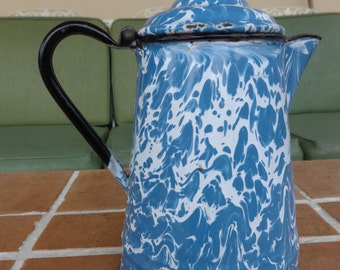 antique spatterware graniteware coffee pot 1800's decorative primitive swirl mottled blue white