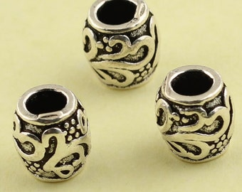 4pcs 7mm 925 Sterling Silver Tiny Tube Vintage Beads / Findings / Spacer, Antique Silver,Tiny flower