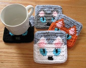 Cat Coasters. Quarry grey crochet coaster set with peeking cats. Gray cat cup coaster. Black cat decor. White cat. Orange cat.