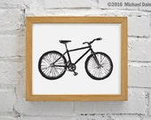 Linocut Bike Print - Black Bicycle Single Speed Mountain Bike