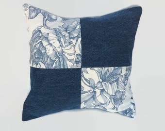 Denim, Blue and White Floral Four Patch Pillow Cover 16 Inch Square Upcycled 16 X 16