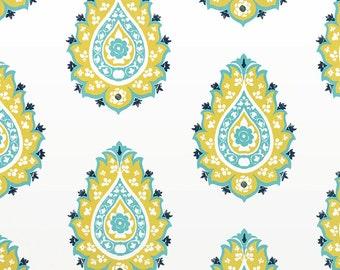 Damask Saffron Yellow & Coastal Blue Curtain Panels 24W or 50W x 63, 84, 90, 96 or 108L Premier Prints Gunmetal Canal