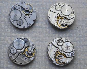 0.9 inch Set of 4 vintage wrist watch movements.