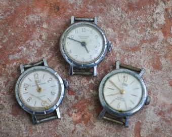 Set of 3. Vintage Soviet Russian wrist watches for parts.Didn't work.