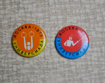 "Set of 2 Vintage Soviet Russian tin badges.""Universiade Moscow 1973"""