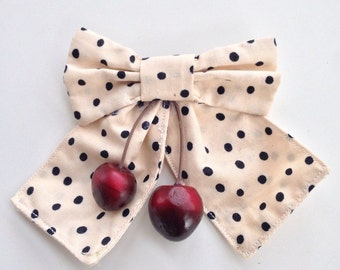 Polka Dot Bow Brooch with Cherries