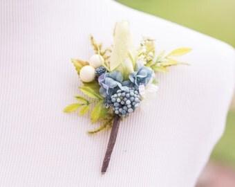 Wedding Boutonniere - Bridal Flower - Men's Blue Wedding Accessory - Buttonhole - Beach Wedding - Accessory - Groomsmen - Groom Flower