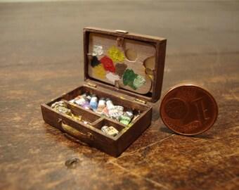 dollhouse miniature box painter.  antiqued  walnut wood.