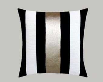 Black Decorative Pillow Cases : Decorative Pillow Case Cotton Black-White Throw by svetastyle