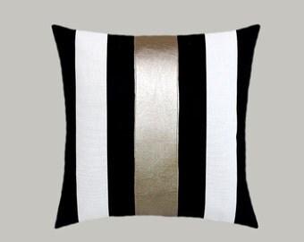 Decorative Pillow Case Cotton Black-White Throw by svetastyle