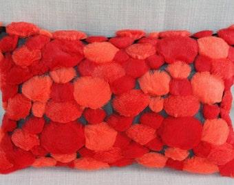 "Decorative Pillow Case, Red Orange faux Fur fabric Lumbar pillow case, fits 12""x 20"" insert,  Home Decor"