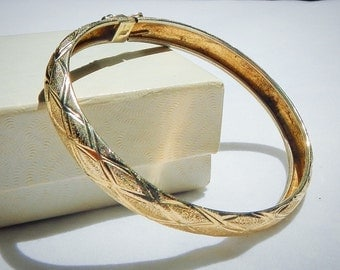 Sterling Silver Gold Plated Bracelet Vintage With Ornate Design and Lock Clasp