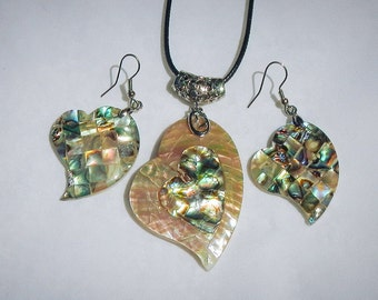 Abalone and Mother of Pearl Heart Shell Vintage Necklace and Mosaic Earrings