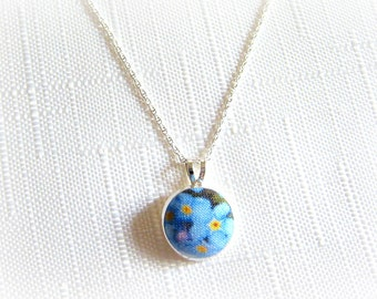 """Forget Me Not Pendant Teacher Thank You Gift Sterling Silver 925 Fine 22"""" Chain on card 'Thank you! For helping me grow' or choose wording."""