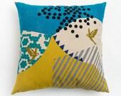Mountain Blues Pillow / Blue Pillow / Geometric Pillow / Japanese Linen Pillow / Mustard Yellow Pillow / Throw Pillow / Unique Pillow