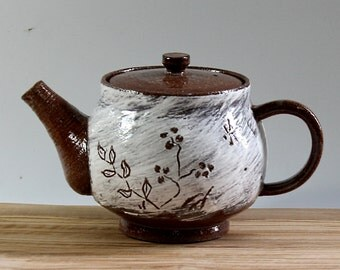 Carved Flower Design Teapot, Ceramic Teapot with Flower Design, Handmade Ceramic Teapot, Brown Teapot