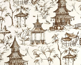 Two 26 x 26 Custom Decorative Euro Pillow   Covers- Lacefield Chinoiserie Toile Pagodas - Brown