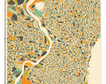 iCanvas Abstract City Map of Philadelphia Gallery Wrapped Canvas Art Print by Jazzberry Blue