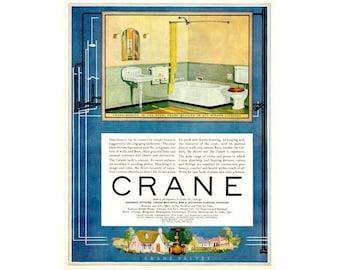 Instant Download Printable Art, Crane, Green, Powder Room, Bathroom, Beauty, Color Ad, Wall Art, Digital