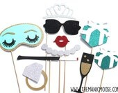 Bridal Shower Photo Booth Prop Set - 10 piece set - Birthdays, Weddings, Parties - GLITTER Photobooth Props
